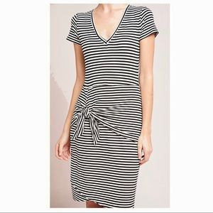 Anthropologie Knot Tie Layered Striped Knit Dress